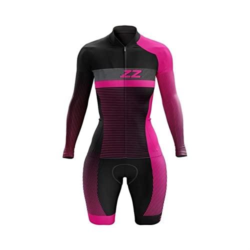 Jersey da donna Triathlon Jersey a maniche lunghe tuta a maniche lunghe set skinsuit set jersey bike set in gel 3D a secco rapido imbottito (Color : 4, Size : XXXX-Large)