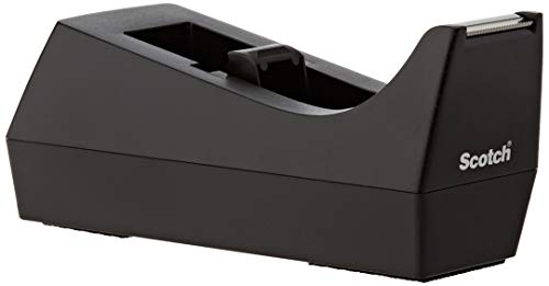 Scotch Desktop Tape Dispenser, 1-Pack, Weighted Base, Black, 1