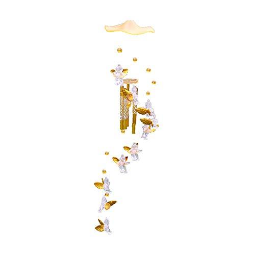 Ruiting Windspiel Metall Engel Cupid Kupfer Fensterdekoration Windspiele für draußen Metall gorß Gold Cupid 1 Stück
