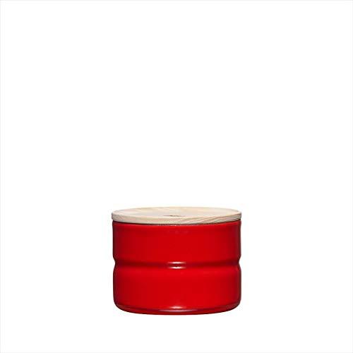 Riess, 2171-213,Vorratsdose mit Eschenholzdeckel, Durchmesser 8 cm, Höhe 6 cm, Inhalt 230 ml, FRESH TOMATO, KITCHEN-MANAGEMENT, Truehomeware, Emaille