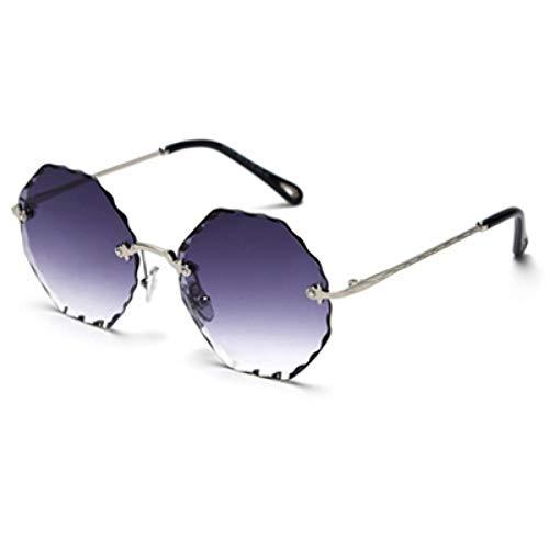 IJEWALRY Frauen Sonnenbrillen Brillen,Frauen Damen Randlose Sonnenbrille Polygonalen Sommer Stil Runde Achteckige Sonnenbrille Grün Braun Rosa Metall Silber Mit Schwarz