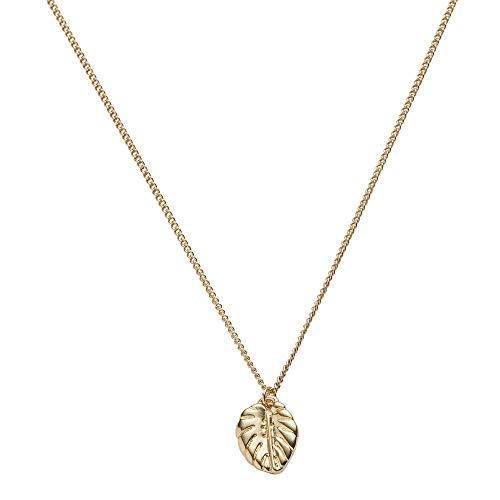 Draeger Paris – Collar de fantasía de metal dorado, diseño de hoja – sin níquel – 45 cm – Ideal para regalo personalizado y diseño
