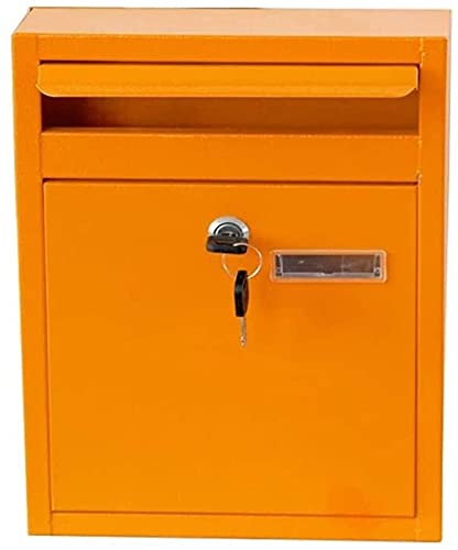 LSYFCL Mailbox Large Capacity Decorative Package MailboxLetterbox Locking Wall Mount Mailbox Postbox Yellow 32X8x24cmExtra-Large Steel Post-Mount Mailbox