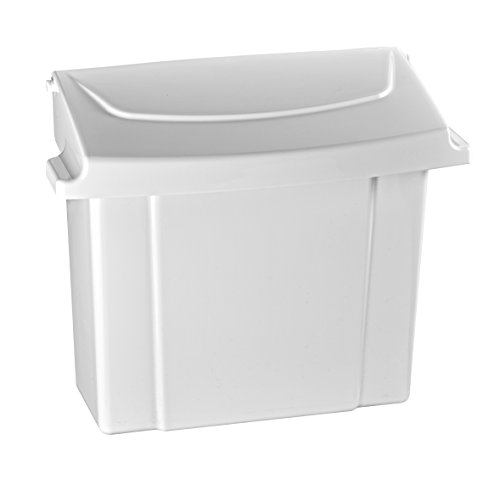 Alpine Sanitary Napkins Receptacle 5 x 9 x 12 in - Hygiene Products, Tampon & Waste Disposal Container - Durable ABS Plastic - Seals Tightly & Traps Odors -Easy Installation Hardware Included (White)