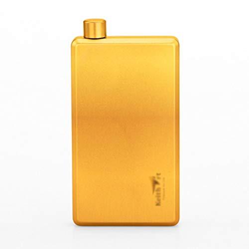 Fiole de poche fiole de titane de hanche en plein air portable portable fiole de hanche pur titane en bonne santé lumière ballon doré de la hanche (Color : GOLD, Size : 13.1 * 6.8 * 2CM)