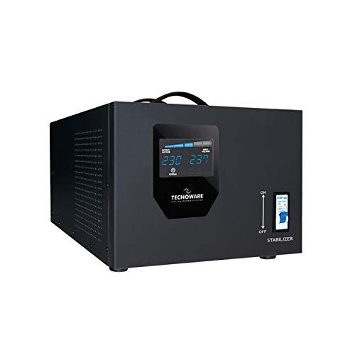 Tecnoware Power Systems Stabilizzatore Industrial Elettronico, Monofase 230 V da 3.5 KVA, Forma d'Onda Sinusoidale, Stabilizzatore di Tensione, Nero
