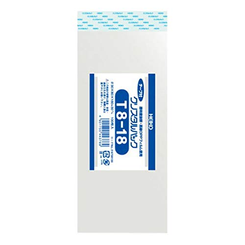 HEIKO OPP袋 クリスタルパック T8-18 (テープ付き) 100枚/62-0994-57