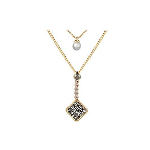 yichahu Collar cuadrado natural para mujer con doble capa y perlas (oro + gris)