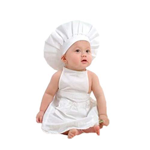 Weilifang Delantal Blanco Sombrero Traje del Cocinero Ropa de beb fotografa apoya los bebs y nios pequeos de Disparo Complementos Disfraz