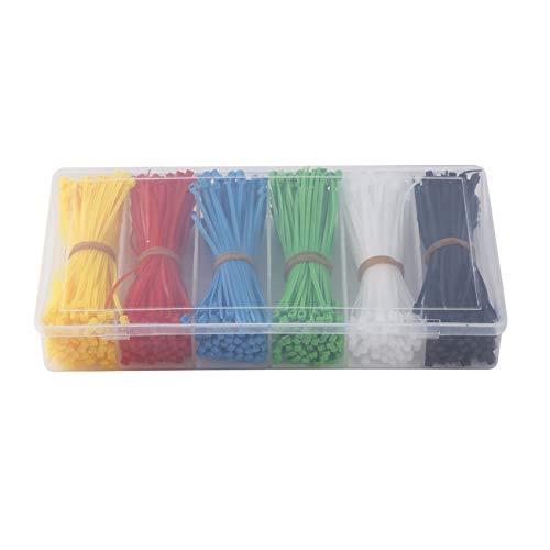 Ashley GAO 900 piezas de bridas, bridas de nailon autoblocantes, negro, blanco, rojo, amarillo, azul, verde, bridas de plástico de 100 mm