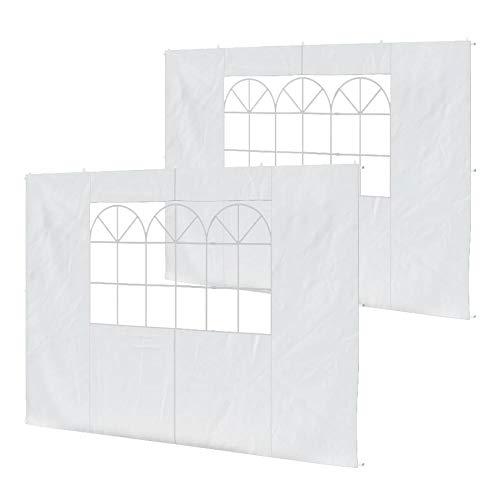 Jawoll Pavillon-Seitenwände 2er Set für 3x3 Pavillons Weiss Zubehör Seitenwand Gartenzelt Partyzelt