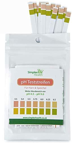 SimplexHealth PH-Teststreifen für Urin und Speichel (10 Streifen) inklusive 30 Tage Aufzeichnungstabelle