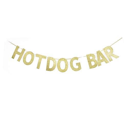 Hotdog Bar Banner, Hotdog Theme Party Sign, Birthday Food Table Decors, Fiesta/Home Party Sign Garland Gold Gliter Paper