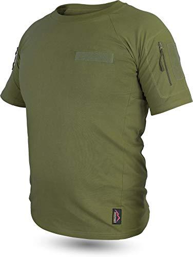 normani Taktisches Tropen T-Shirt mit Armtaschen, Unterarmtaschen und 3 Klettpatchflächen Farbe Oliv Größe 3XL