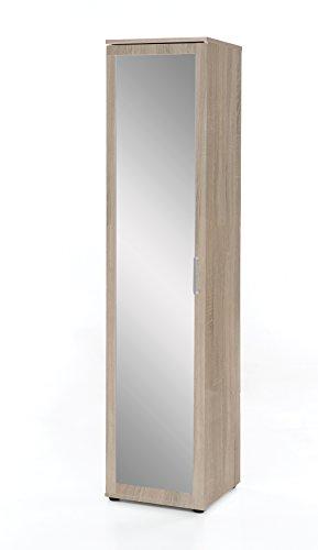 WILMES Dielen- und Allzweckschrank mit 1 Tür und Frontspiegel, Spanplatte, Melamin Dekor Sonoma Eiche, 40 x 39 x 178 cm