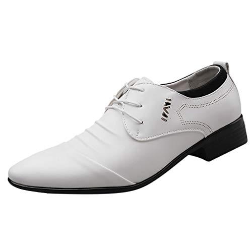 FNKDOR Schuhe Herren Spitz Geschäft Lederschuhe Schnürsenkel Knittern Männer Berufsschuhe Freizeit Kleid Schuhe Hochzeitsschuhe Weiß 43 EU