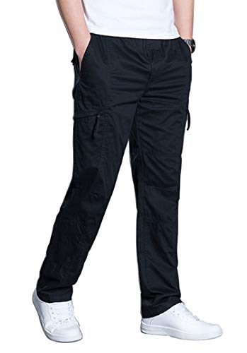 Banana Bucket Men's Full Elastic Waist Loose Fit Pants Lightweight Workwear Pull On Cargo Pants (Black, 37-40 Inch)
