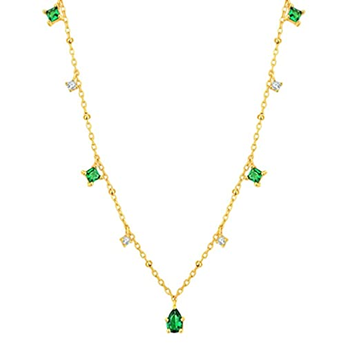 MIKUAU collarTrendy Charm Chain Necklace Green Cubic Zirconia Jewelry Sterling Silver Pendant Necklace for Women Gift