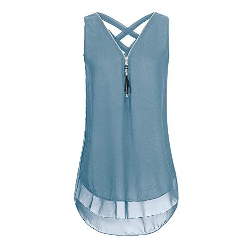 Camisa Mujer Sexy Elegante Top Sin Mangas con Cuello En V Moda De Verano Suelto Cómodo Color Sólido Clásico Todo Fósforo Nuevas Mujer Tops Mujer Blusa I-Blue L