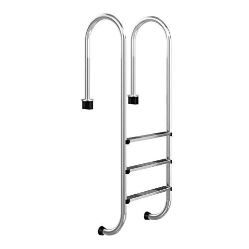 COSTWAY 3 stufiger Edelstahl Poolleiter, Schwimmbad Leiter, Einstiegsleiter Silber, Schwimmbadleiter rutschfest, Einbauleiter 161 x 53 x 38 cm