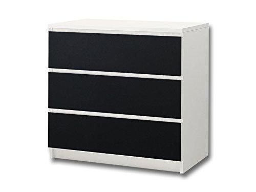 Stikkipix Kreidefolie/Tafelfolie - KF07 - passend für die Kommode mit 3 Fächern/Schubladen MALM von IKEA - Bestehend aus 3 passgenauen Kinderzimmer Möbelfolien (Möbel Nicht inklusive)