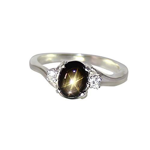 Genuine Black Star Sapphire Sterling Silver Ring with Diamond Accents