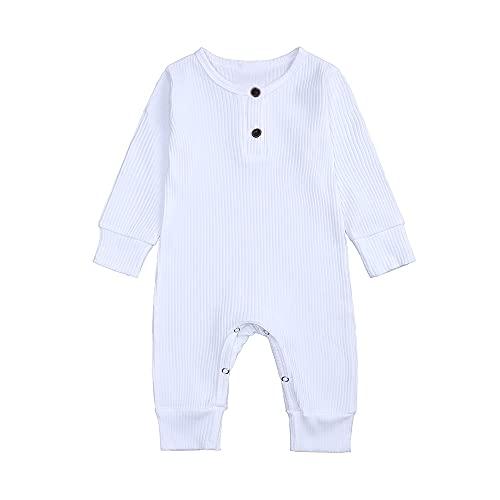 ZFTTZYMX Newborn Baby Ribbed Romper Jumpsuit Infant Unisex Cotton Long Sleeve Button Solid Bodysuit One Piece Clothes