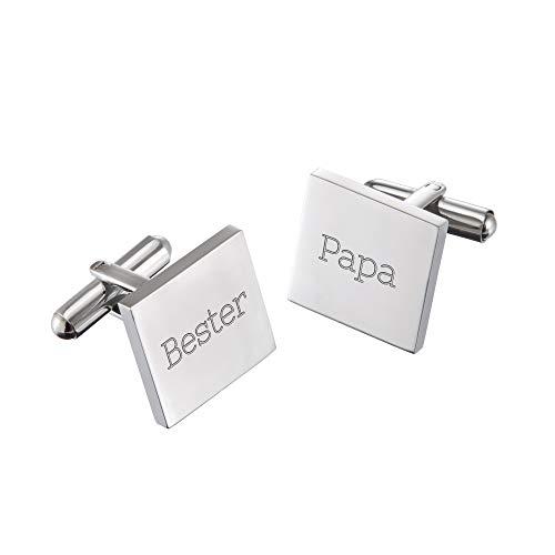 Gravado Quadratische Manschettenknöpfe aus Edelstahl graviert mit Aufschrift Bester Papa, Anzug Accessoires, Inkl. Geschenkbox, Herren Schmuck