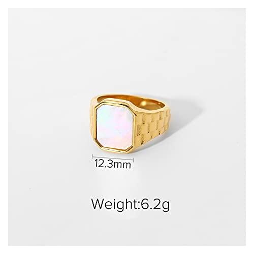 YSJJWDV Piedra de Cristal Malaquita de Lujo de la Vendimia Madre de Shell geométrico Cuadrado de Acero Inoxidable Anillos para Las Mujeres Girls Party Jewelry Regalos