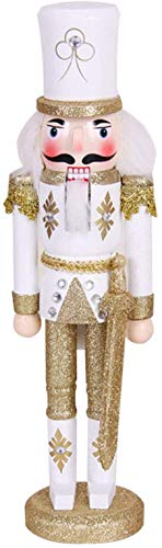 Nutcracker Soldier, 30cm/11.8in Tall Wooden Nutcracker Soldier Figure Decor, Nutcracker Christmas Decorations Doll Ornament for Festival Party Outdoor Xmas Gifts Kids (Gold)