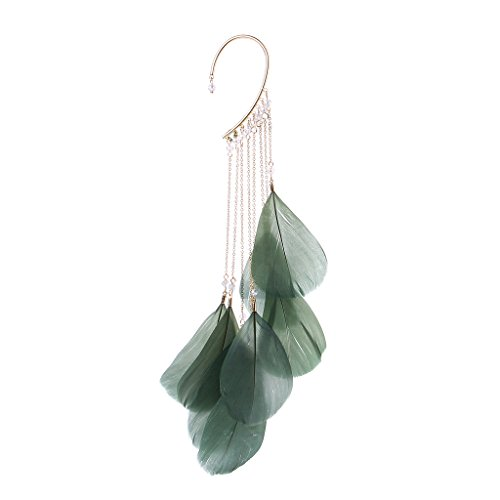 KOFUN 1 Stück Ohrclip, Boho Green natürliche Feder baumeln Creolen NO Piercing Manschette Ohr Clip Frauen