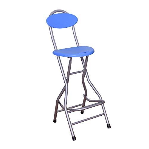 Folding chair Silla Plegable de Pierna Alta con Respaldo portátil Azul/Rojo con Respaldo Alto y cómodo reposapiés Plegable y portátil