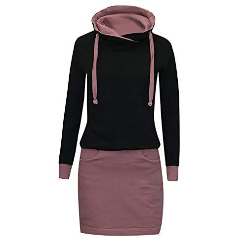 Xmiral Kapuzen-Kleid Farbblock Langarm Damen Lange Sweatshirt Beiläufig Fake Zwei Pullover Kleider(b-Lila,L)