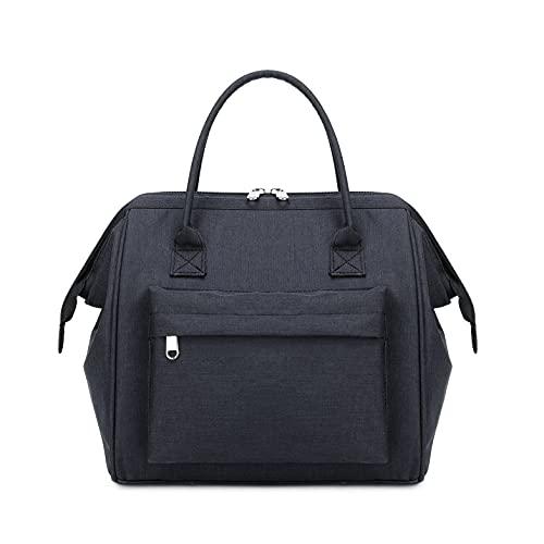15L Lunch Tasche für Frauen und Männer. Wasserdichte, Isolierte Picknicktasche Handtasche, Wiederverwendbare Lunch Bag Kühl Tasche,Schwarz