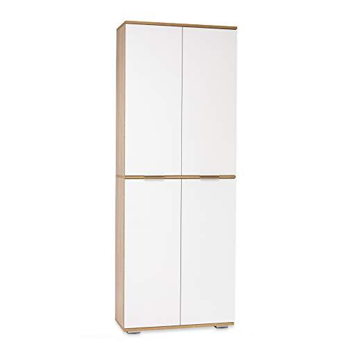 Aktenschrank - Büromöbel - Ordnerschrank [Viel Platz und Funktional] Bücherschrank - Mehrzweckschrank - Sonoma-Eiche/Weiß, B80,2cm x H214,7cm x T35cm   Büro Schrank