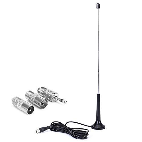 Antena FM Dab Interior, Sintonizador de Radio con Cable de 3 m, Antena de Radio FM para Digital Inalámbrica, 75 Ohm de Largo con Base Magnética, Receptor de Cine para Hogar con Bluetooth AV