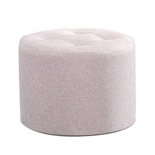 Reposapiés de algodón y lino, reposapiés tipo puf con relleno de esponja muy elástica, para dormitorios, habitaciones y salas de estar, 32 x 32 x 38 cm Arroz blanco