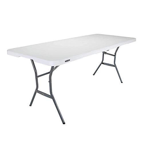 SKYHY224 Folding Table 4 x 2 pies (122 x 61 cm) Luz Rectangular Mesa de Plegado Plegable en Medio con 3 Alturas Ajustables de 22/29/36 en (56/74/91 cm) (Color : 6 ft, Size : Folding Table)