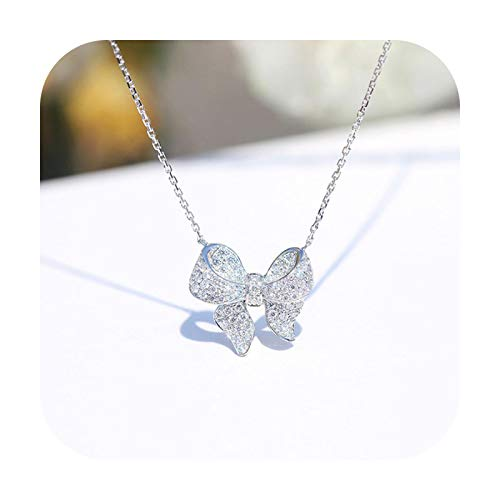 BSbattle Elegante collar de plata de ley 925 de lujo con piedras preciosas blancas de cristal CZ Bowknot para mujer, cadena de clavícula, regalo de joyería