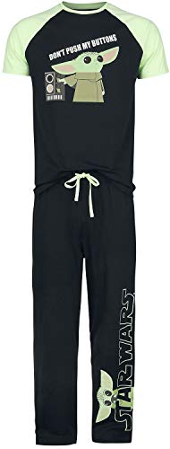 Star Wars The Mandalorian - Don't Push My Buttons - Grogu Hombre Pijama Negro L, 100% algodón,
