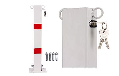 Klappbare Parkpfosten mit 2 Ösen als Kettenhalterung Parkplatzsperre Absperrpfosten Parkplatz-Barriere mit Schlüssel mit Schlüssel (Silber)
