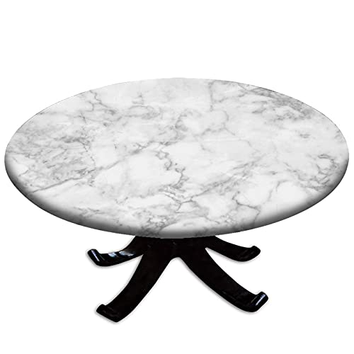 Round Tablecloth with Elastic Marble, Nature Granite Pattern with Cloudy Spotted Trace Effects Marble Image, Grey Dust, Waterproof Table Cover for Kitchen Party Dinner Table Decoration 45-56inch(114-