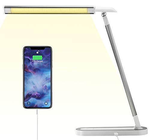 Lampada da Scrivania a LED 10W 500Lm, ANTELA Lampada da Ufficio con Controllo Touch e Eimmerabile con 3 Modalità di Illuminazione e 3 Livelli di Luminosità, Porta di Ricarica USB, Argento   Bianco