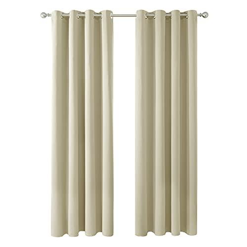 Amazon Brand - Umi Cortinas Opacas Telas Termicas Aislantes Frio Calor Ruido Luz para Salon Dormitorio 2 Paneles 140 x 245 cm Beige Oscuro