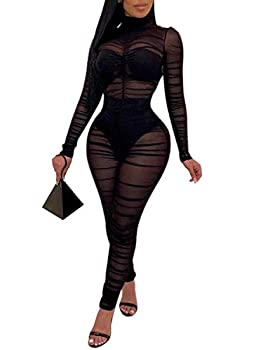 Uni ClauWomen One Piece Outfits Mesh Sheer Bodycon Jumpsuit Long Sleeve See Through Party Jumpsuits Black M