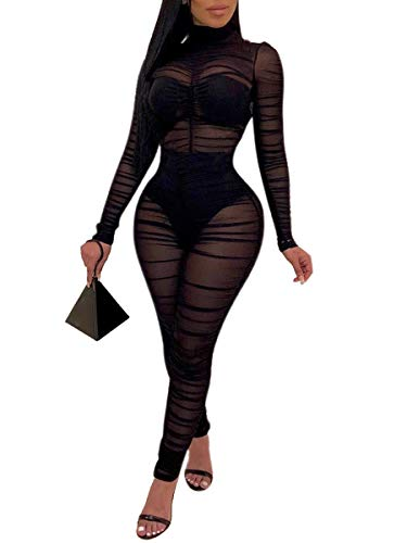 Uni ClauWomen Sexy One Piece Outfits Mesh Sheer Bodycon Jumpsuit Long Sleeve See Through Party Jumpsuits Black L
