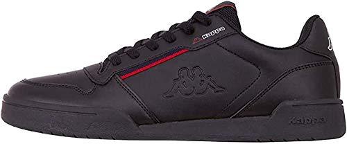 Kappa MARABU Sneaker für Frauen & Männer | Damen & Herren Sportschuhe mit Kappa-Logoprägung und farbigen Applikationen | pflegeleichte Begleiter zu vielen Outfits | schwarz, Größe 43 EU