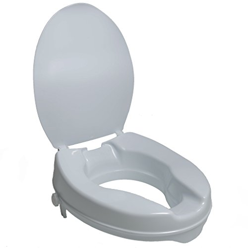 PCP 2-Inch Raised Standard Toilet Seat, Increase Height Over Commode, Low Profile Elevated, Includes Lid, Tightening Stability Safety Clamps
