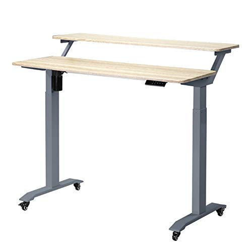 UNICOO - Electric Height Adjustable Standing Desk, Electric Standing Workstation Home Office Sit Stand Up Desk with 4 Pre-Set Memory Led Display Controller (Gray Oak Top/Gray Legs - Electric -2 Tier)