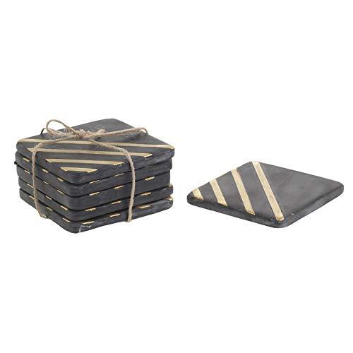 Inart - Set di 2 sottobicchieri in marmo nero, 10 x 10 x 7 cm